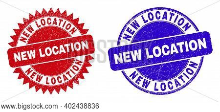 Round And Rosette New Location Seal Stamps. Flat Vector Distress Seal Stamps With New Location Sloga