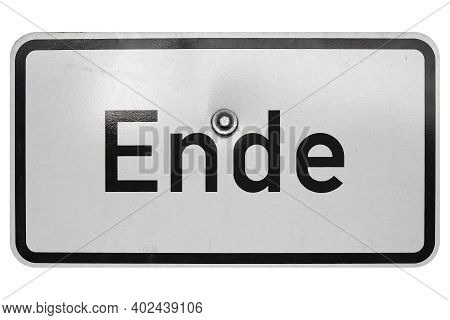 German Traffic Sign Isolated Over White Background. Ende (translation: End)