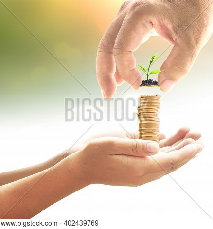 Father's Day Concept: Hand Of Father Give One Coin With Small Plant Into Stacks Of Golden Coins In H