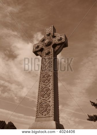 Cemetery In Brooklyn - Close Up Of Cross- Sepia