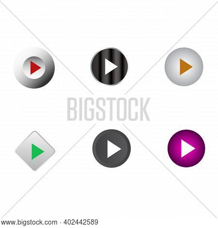 Media Player Icons Set. Buttons For Controlling A Video Or Music Audio Player. White Volumetric 3d I