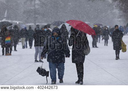 Madrid, Spain - January 08, 2021: People Enjoying A Walk Through The Buen Retiro Park In Madrid, In