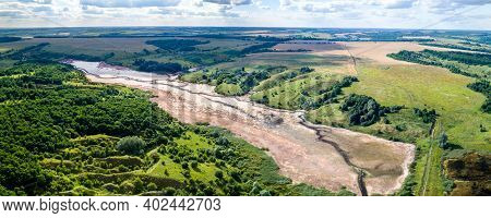 Aerial View Of River In Central Black Earth Region - Kursk Oblast, Russia