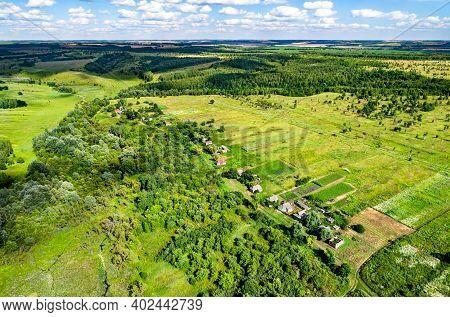 Typical Aerial Landscape Of The Central Russian Upland. Bolshoe Gorodkovo Village, Kursk Region.