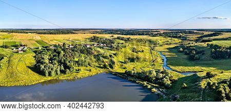 Aerial View Of Maloe Gorodkovo, A Typical Village On The Central Russian Upland, Kursk Region.