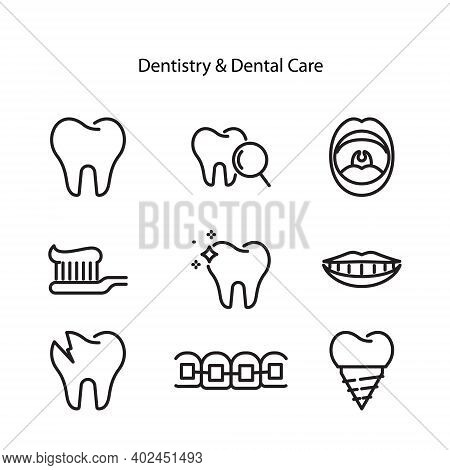 Dental Line Icon Set, Dentistry Collection, Vector Sketches, Logo Illustrations, Orthodontics Icons,