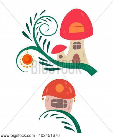 Set Of Cartoon Fairy Tale Porcini Houses On A Liana With Lanterns For Fairies And Gnomes On A White