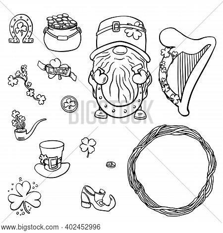 Saint Patrick S Day Traditional Symbols Collection. Irish Music, Flags, Beer Mugs, Clover, Pub Decor