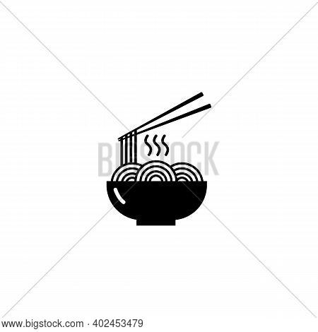 Noodles Icon. A Bowl Of Noodles And Chopsticks. Chinese And Asian Traditional Cuisine. Logo Illustra