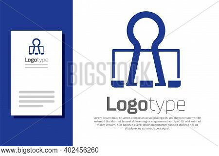 Blue Binder Clip Icon Isolated On White Background. Paper Clip. Logo Design Template Element. Vector