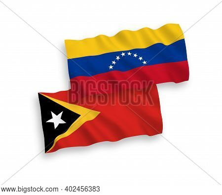 National Fabric Wave Flags Of Venezuela And East Timor Isolated On White Background. 1 To 2 Proporti