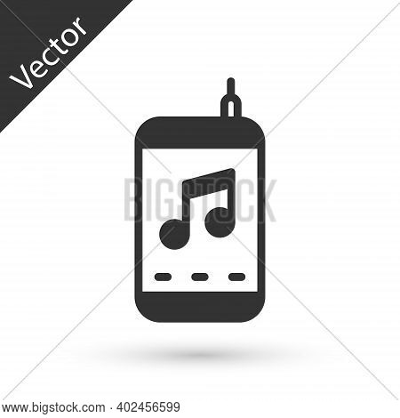 Grey Music Player Icon Isolated On White Background. Portable Music Device. Vector