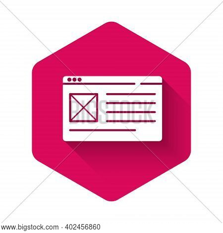 White Browser Window Icon Isolated With Long Shadow. Pink Hexagon Button. Vector