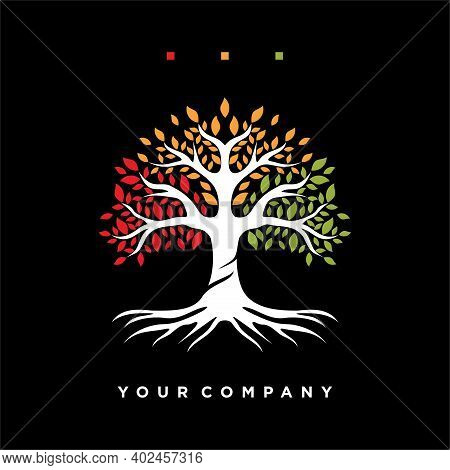 Inspired Colorful Tree Logo With A Modern Design. Concept Of Colorful Leafy Tree Vector Illustration