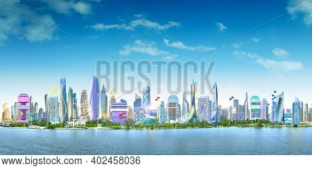 Panoramic City Landscape With Cloudy Blue Skyline Over The Deep Blue Sea.  Colorful City Urban Lands