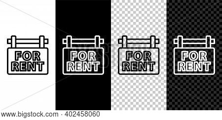 Set Line Hanging Sign With Text For Rent Icon Isolated On Black And White Background. Signboard With