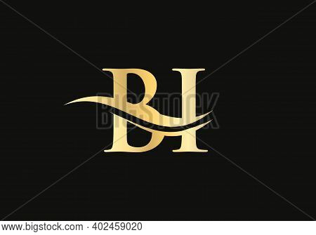 Water Wave Bi Logo Vector. Swoosh Letter Bi Logo Design For Business And Company Identity.