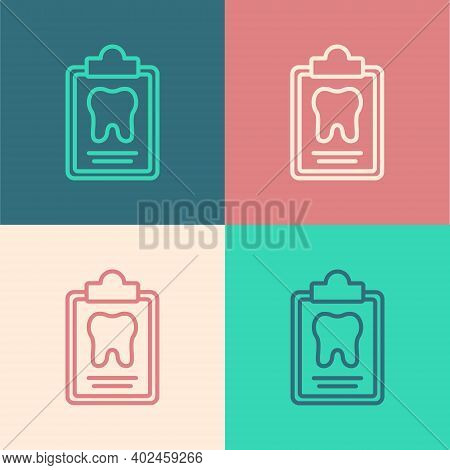Pop Art Line Clipboard With Dental Card Or Patient Medical Records Icon Isolated On Color Background