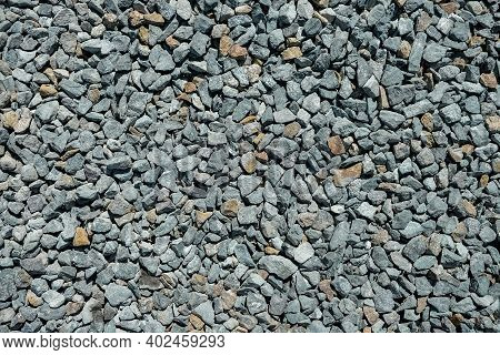 Road Gravel. Gravel Texture. Crushed Gravel Background. Pile Of Stones Texture. Industrial Coals
