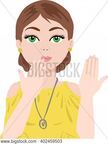 Beautiful Girl In Yellow Dress Rejoices In Engagement, Vector Color Drawing Isolated On White Backgr