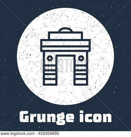 Grunge Line India Gate In New Delhi, India Icon Isolated On Grey Background. Gate Way Of India Mumba