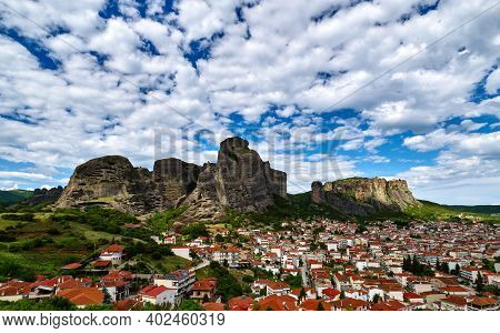 Meteora Valley And Mountains At Day. Blue Sky And Great Clouds Over Hills And Villages Of Kalampaka