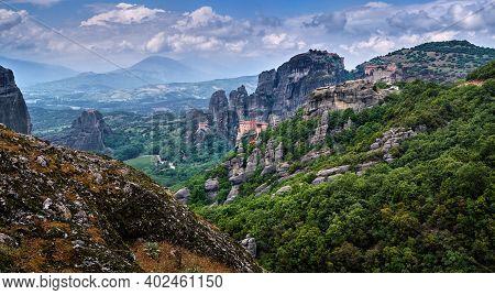 View Of Spectacular Rocks Of Meteora, Thessaly, Greece And Valley. Nunnery Of Moni Agias Varvaras Ro