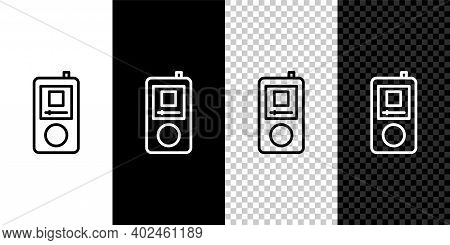 Set Line Music Player Icon Isolated On Black And White Background. Portable Music Device. Vector
