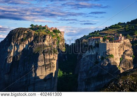 Early Morning Over Varlaam And Great Meteoron Or Megalo Meteoro Or Metamorphisis Monasteries In Mete