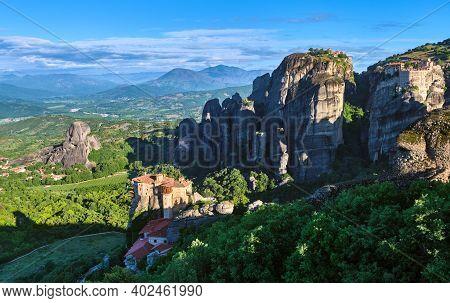 Morning View Of Moni Agias Varvaras Roussanou In Morning, Meteora, Greece And Varlaam Monastery, Roc