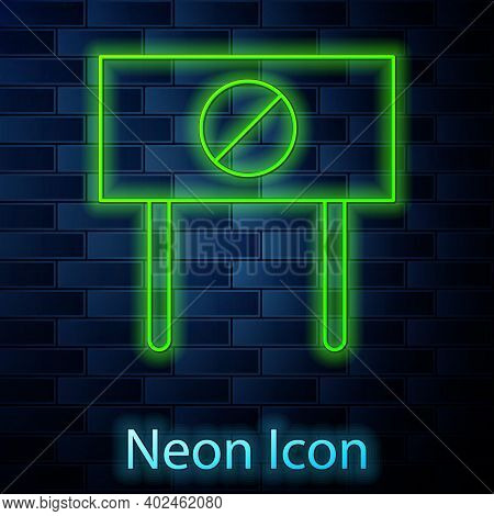 Glowing Neon Line Protest Icon Isolated On Brick Wall Background. Meeting, Protester, Picket, Speech