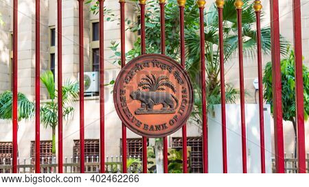 New Delhi, India - Sept 15, 2019 - Reserve Bank Of India Logo On The Main Entrance Gate Of The Bank.