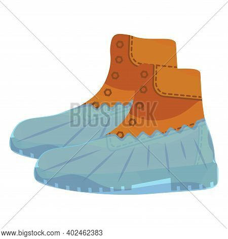 Military Brown Boots With Polyethylene Covering. Blue Shoe Cover. Protective Medical Covers. Militar