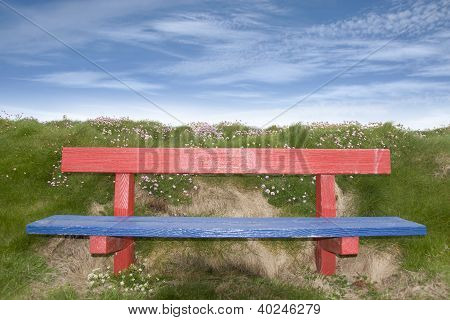 Painted Red And Blue Bench