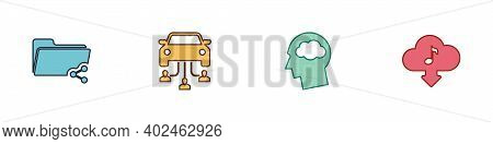 Set Share Folder, Car Sharing, Head Silhouette With Cloud And Cloud Download Music Icon. Vector
