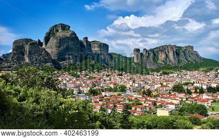 View Of Kalampaka And Kastraki Villages At Foot Of Meteora Cliffs And Pillars On Sunny Spring Day. G
