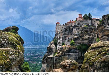 Cliff-top Great Meteoron Monastery In Rocky Landscape Of Famous Meteora Valley, Greece, Unesco World