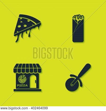 Set Slice Of Pizza, Pizza Knife, Pizzeria Building Facade And Burrito Icon. Vector
