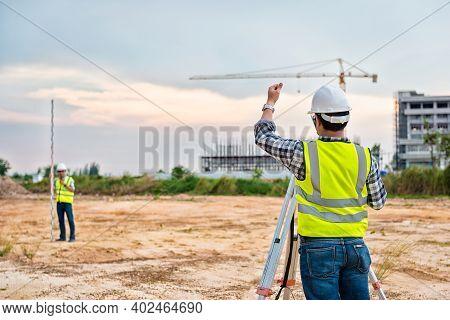 Surveyor Equipment. Surveyor's Telescope At Construction Site Or Surveying For Making Contour Plans