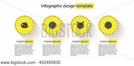 Set Asteroid, Planet Jupiter, Pig Zodiac And Venus. Business Infographic Template. Vector