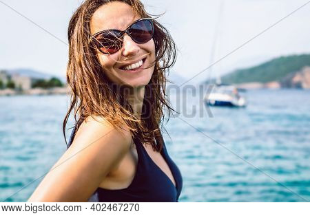 Beautiful Woman Portrait. Beauty Woman Portrait In Vacation. Beautiful Model Woman Portrait. Stylish