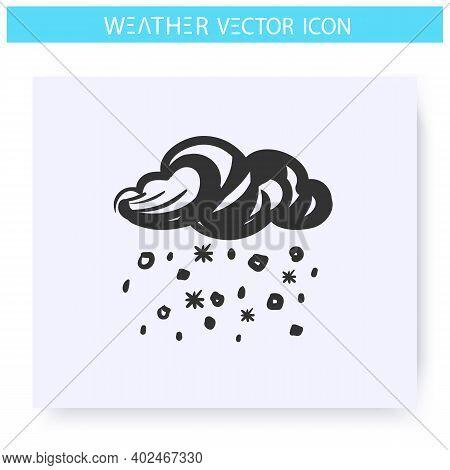 Hail Icon. Hand Drawn Sketch. Mixed Rain. Falling Hailstones. Rainfall. Hail Storm. Weather Forecast