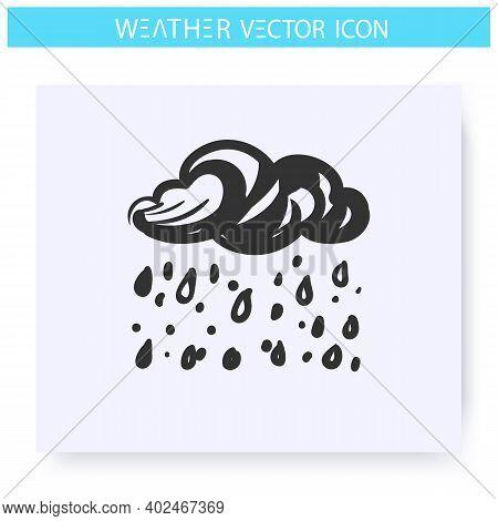 Heavy Shower Icon. Hand Drawn Sketch. Heavy Rain. Cloud With Raindrops. Rainfall. Overcast And Rainy