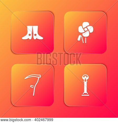 Set Ukrainian Footwear, Poppy Flower, Scythe And Monument Of Independence Icon. Vector
