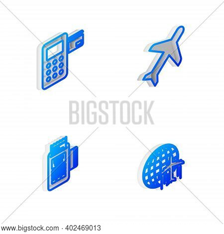 Set Isometric Line Plane, Pos Terminal, Pos And Globe With Flying Plane Icon. Vector