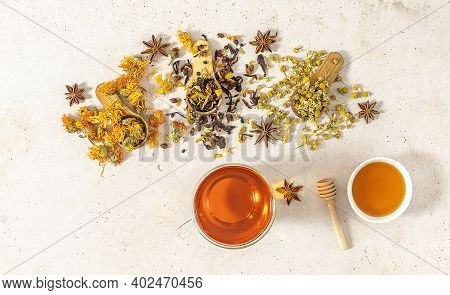 Cup Of Freshly Brewed Fruit And Herbal Tea With Honey, Lemon, And Anis. Healthy Concept, Remedy For