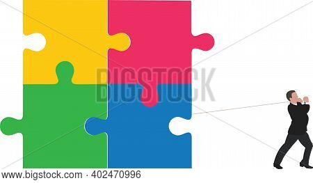 Person At Work Drags Group Of Joined Puzzles