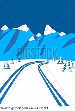 Illustration Of Winter Landscape With Mountains In The Background, Cross-country Ski Run