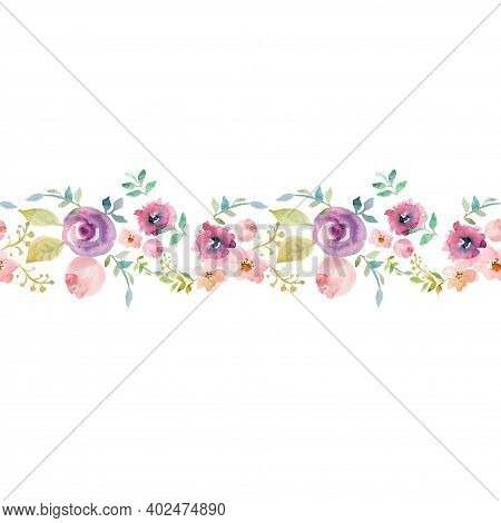 Floral Seamless Watercolor Frame Border