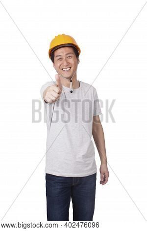 A Young Construction Management Doing Thumbs Up High Quality Photo
